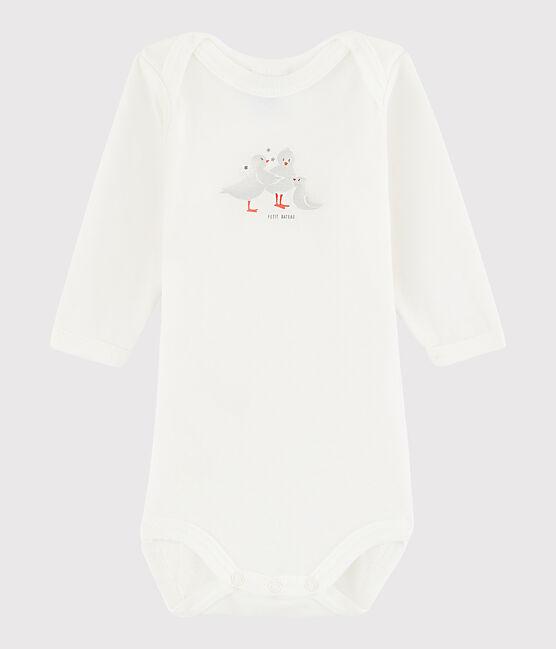 Langärmeliger Baby-Body Mädchen weiss Marshmallow