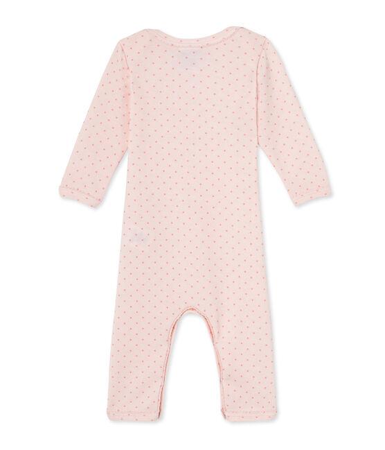 Kurzer Baby-Mädchen-Einteiler aus Wolle/Baumwolle rosa Vienne / rosa Gretel