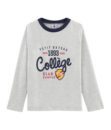 Langärmliges T-Shirt mit Siebdruck für Jungen grau Beluga
