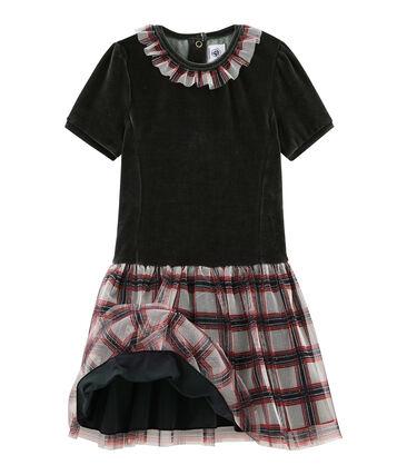 Kurzärmeliges Kinderkleid für Mädchen schwarz Noir / weiss Multico