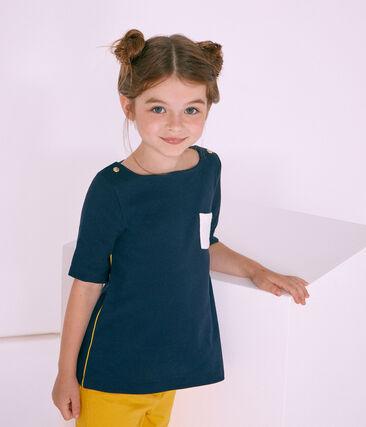 Mädchen-T-Shirt 3/4-Ärmel blau Smoking