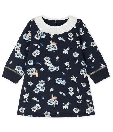Langärmeliges bedrucktes Kleid für Baby Mädchen blau Smoking / weiss Multico