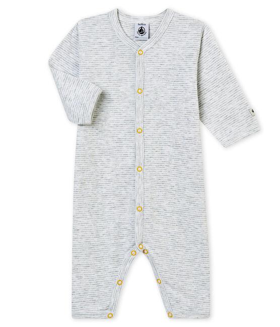 Baby Jungen Strampler ohne Fuß. grau Poussiere / weiss Marshmallow