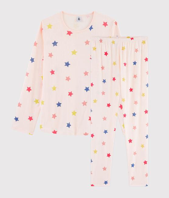 Rippstrick-Pyjama mit Sternen-Print für Mädchen. rosa Fleur / weiss Multico