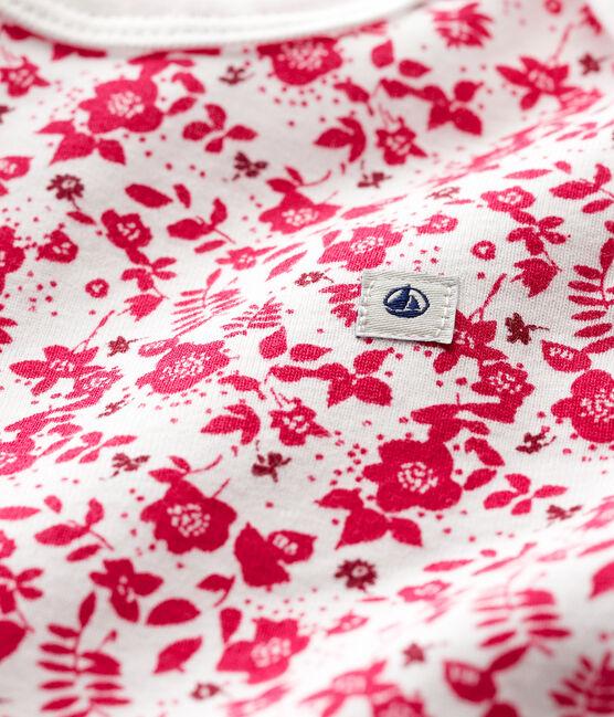 Kurzärmeliger Baby-Body für Mädchen weiss Marshmallow / rosa Flashy