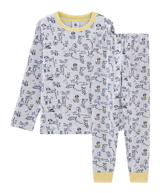 Rippstrick-Pyjama für kleine Jungen grau Beluga / weiss Multico