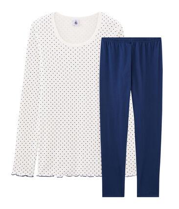 Rippstrick-Pyjama für Mädchen blau Medieval / weiss Multico