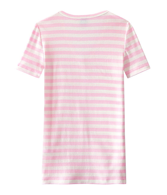 Gestreiftes Damen-T-Shirt mit V-Ausschnitt aus Original-Rippstrick rosa Babylone / weiss Marshmallow