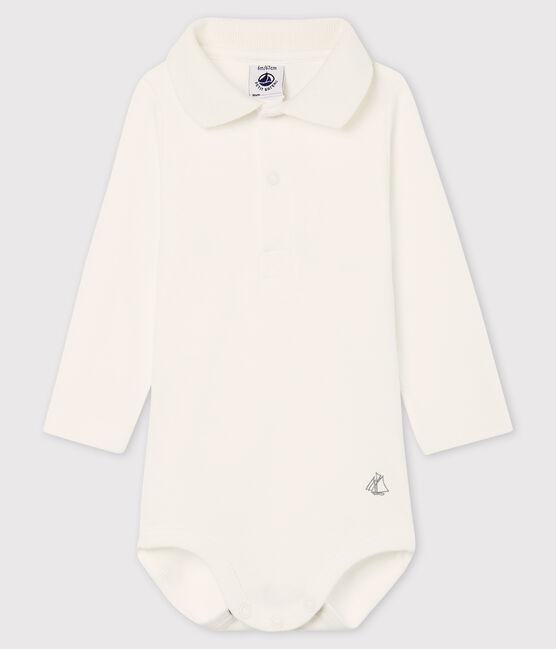 Langärmliger Baby-Body mit Polokragen weiss Marshmallow