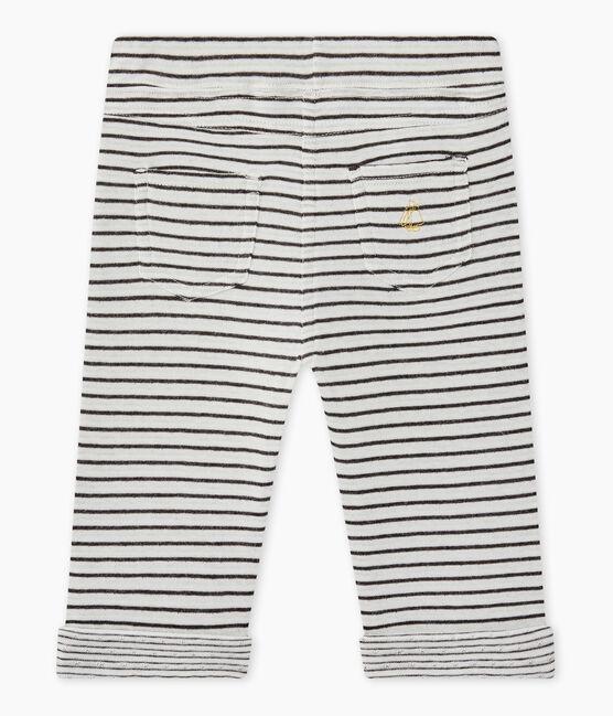 Gestreifte Baby-Jungen-Hose weiss Marshmallow / schwarz City