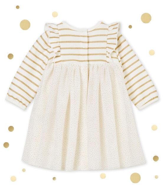 Baby MädchenKleid aus Tüll mit Paillettenbesatz weiss Marshmallow / gelb Dore