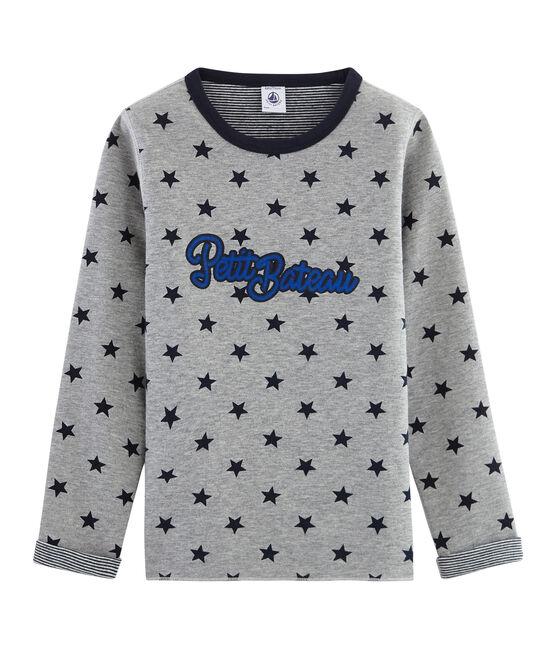 Warmes wendbares T-Shirt für Jungen grau Subway / blau Smoking
