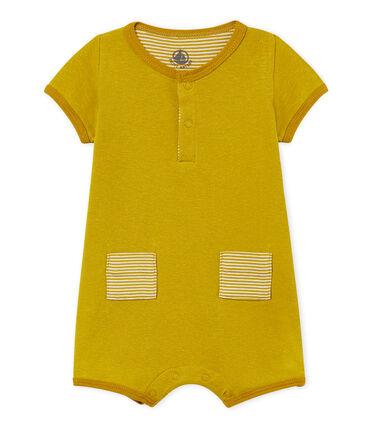 Baby-kurzoverall jungen aus baumwolle/leinen gelb Bamboo