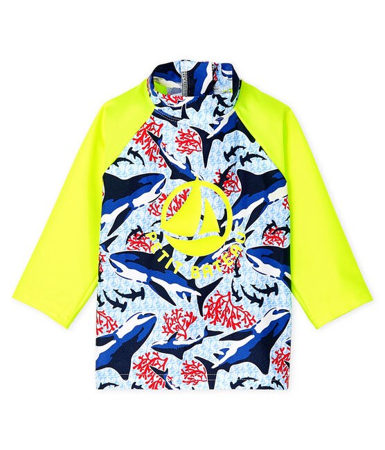 Umweltfreundliches Anti-UV-T-Shirt mit LSF 50+ Baby Jungen blau Smoking / weiss Multico