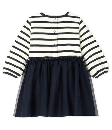 Langärmeliges Kleid für Baby Mädchen beige Coquille / blau Smoking
