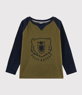 Kinder-T-Shirt mit Siebdruck für Jungen MILITARY/SMOKING