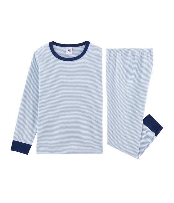 Rippstrick-Pyjama für kleine Jungen blau Acier / weiss Marshmallow