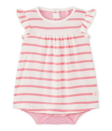 Baby-Mädchen-Bodykleid mit originellem Streifenmuster