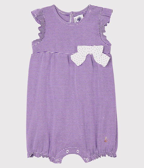 Baby-Einteiler mit Milleraies-Streifen für Mädchen violett Real / weiss Marshmallow