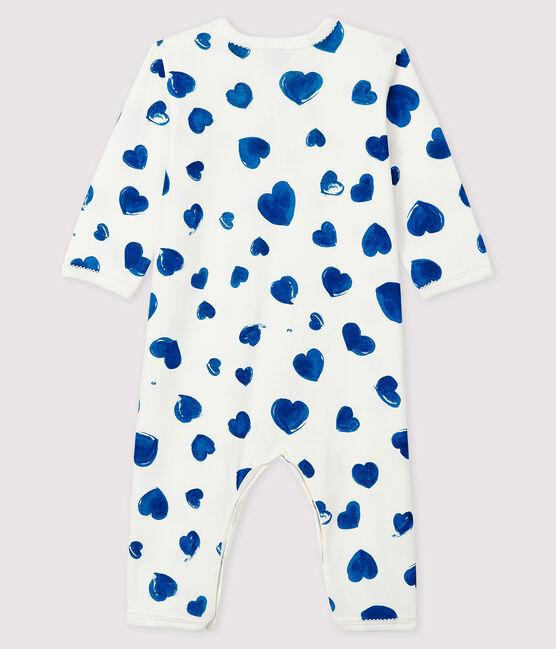 Baby-Strampler mit blauen Herzen ohne Fuß aus Rippstrick für Mädchen weiss Marshmallow / weiss Multico