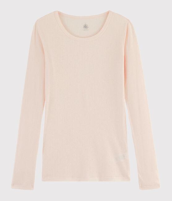 Damen-T-Shirt aus Wolle und Baumwolle rosa Fleur