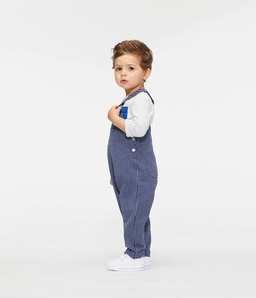 Lange gestreifte Baby-Latzhose aus Strick für Jungen blau Smoking / weiss Marshmallow