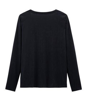Langärmliges T-Shirt aus Sea Island-Baumwolle für Damen blau Marine