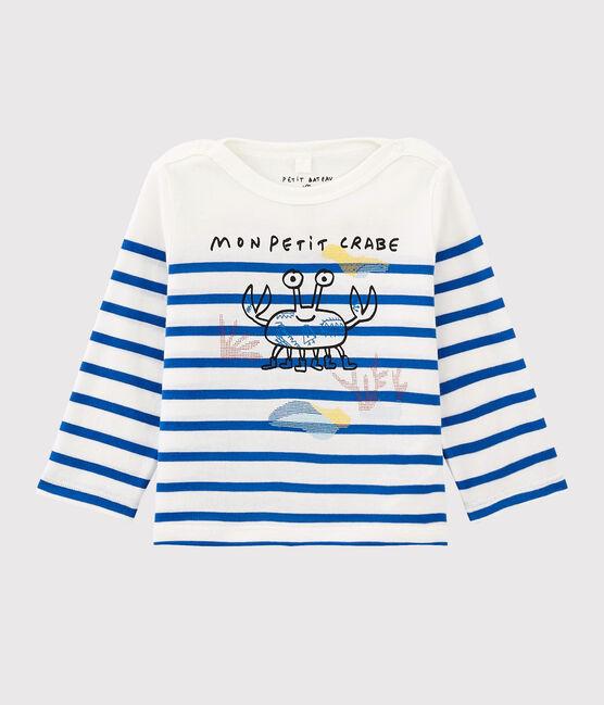 Marineshirt für Mädchen/Jungen Serge Bloch weiss Marshmallow / blau Perse