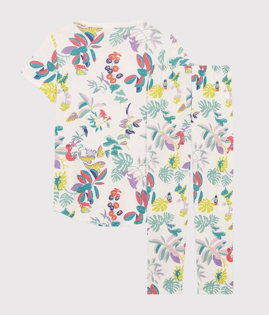 Rippstrick-Pyjama mit Dschungel-Print für kleine Mädchen. weiss Marshmallow / weiss Multico