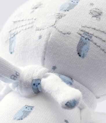 Kuschelkatze aus bedrucktem Jersey weiss Marshmallow / weiss Multico