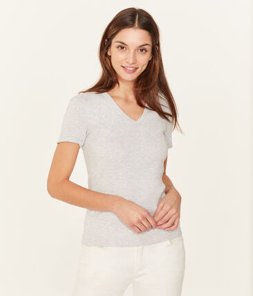 Kurzarm-t-shirt v-ausschnitt damen