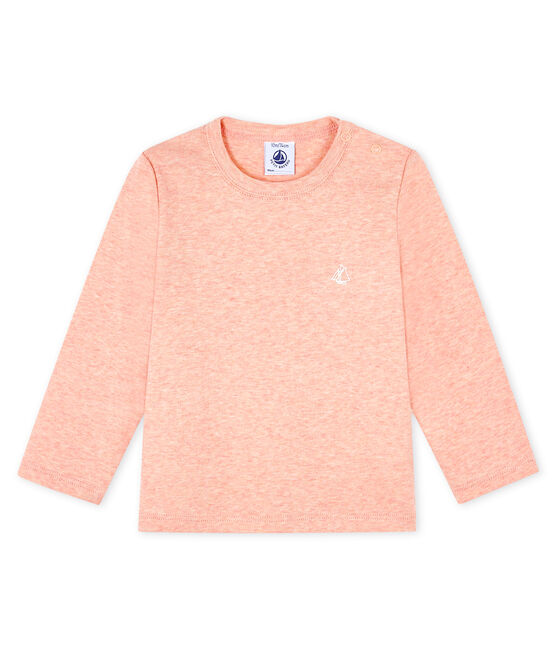 Langärmeliges Baby-T-Shirt rosa Aster Chine