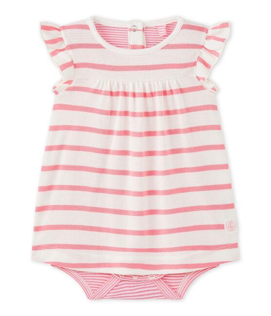 Baby-Mädchen-Bodykleid mit originellem Streifenmuster weiss Marshmallow / rosa Petal