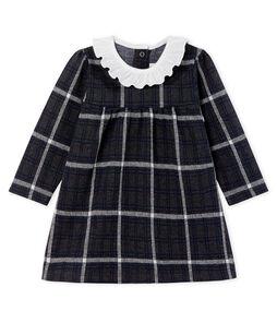 Langärmeliges kariertes Babykleid für Mädchen schwarz City / weiss Multico