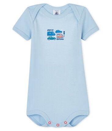Kurzärmeliger Baby-Body für Jungen blau Jasmin