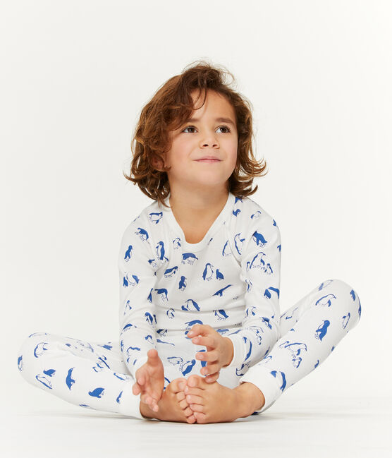 Unisex-Pyjama aus angerautem, extra warmem Bouclé-Frottier weiss Marshmallow / blau Major