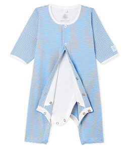 Bodyjama ohne Füße aus Rippstrick für Mädchen blau Acier / weiss Marshmallow