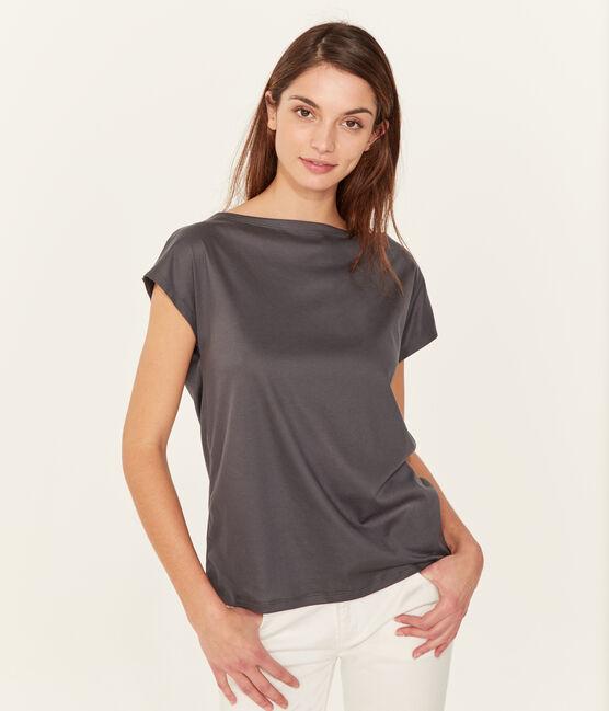 Kurzärmeliges damen-t-shirt sea island aus baumwolle grau Maki