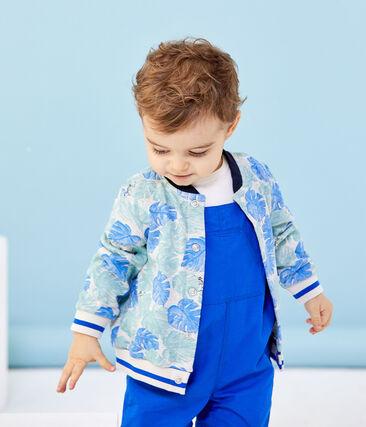 Bedruckter Baby-Jungen-Cardigan grau Beluga / weiss Multico
