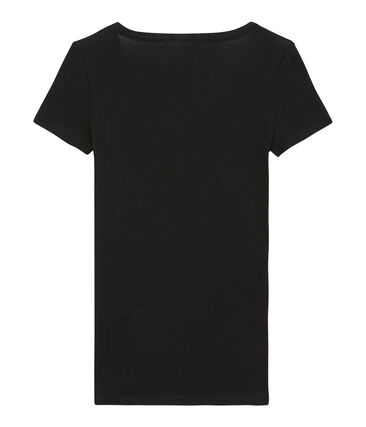 Kurzärmliges T-Shirt mit V-Ausschnitt für Damen schwarz Noir