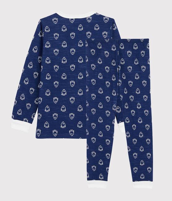Jacquard-Pyjama mit Yeti-Motiv aus Wolle und Baumwolle für kleine Jungen blau Medieval / weiss Marshmallow