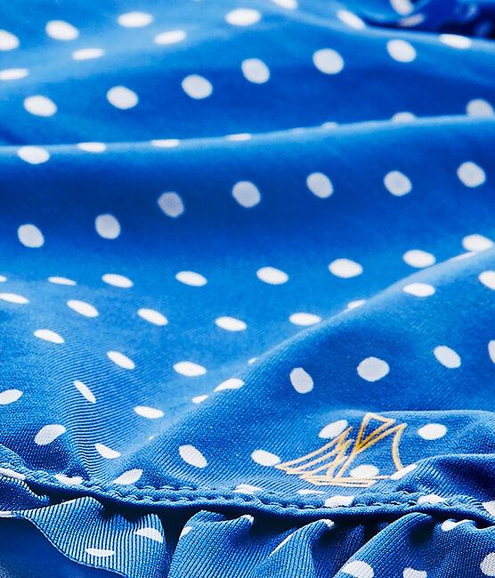 Gepunkteter Baby-Mädchen-Badeanzug blau Perse / weiss Marshmallow