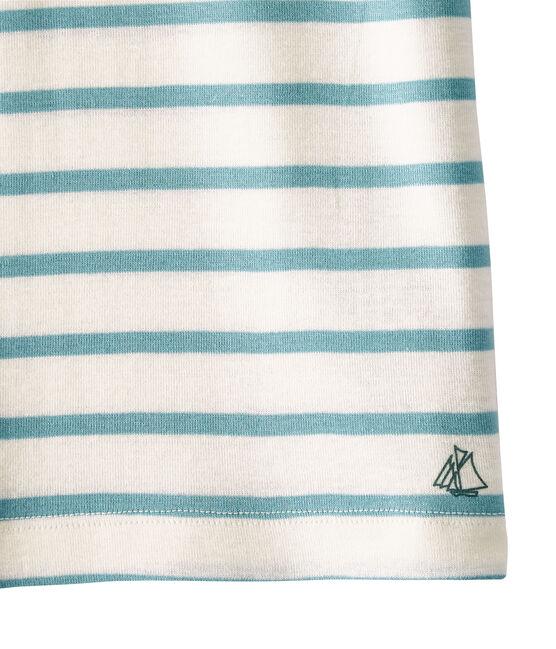 Geringeltes Mädchen-T-Shirt weiss Marshmallow / blau Mimi