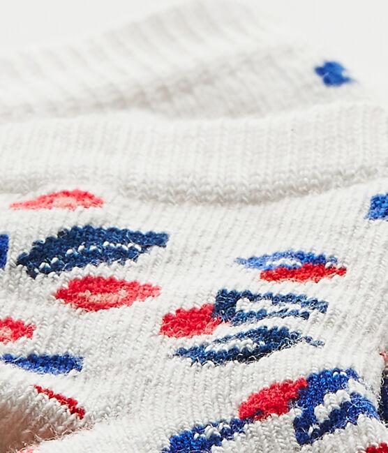 Bedruckte Baby-Mädchen-Socken weiss Marshmallow / weiss Multico