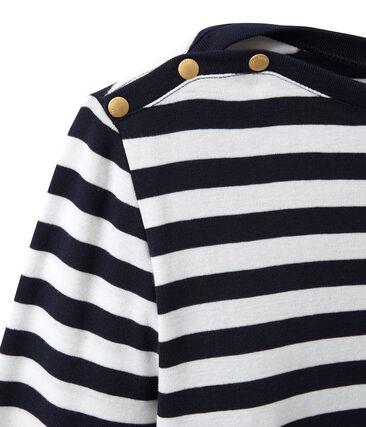 Gestreiftes Damen-Langarmshirt blau Smoking / weiss Marshmallow