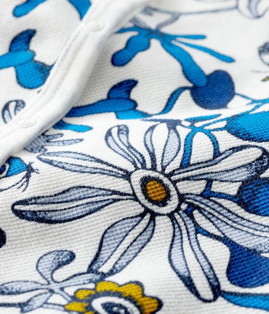 Gemusterter Baby-Kurzoverall für Mädchen weiss Marshmallow / blau Haddock