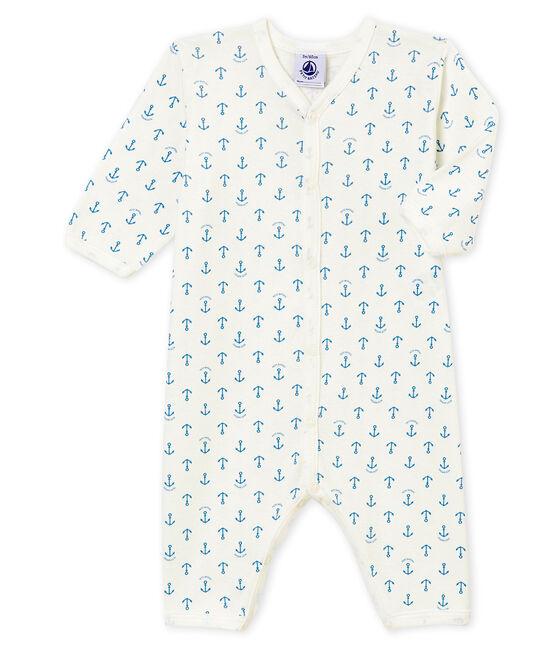 Baby Jungen Strampler ohne Fuß. weiss Marshmallow / blau Alaska