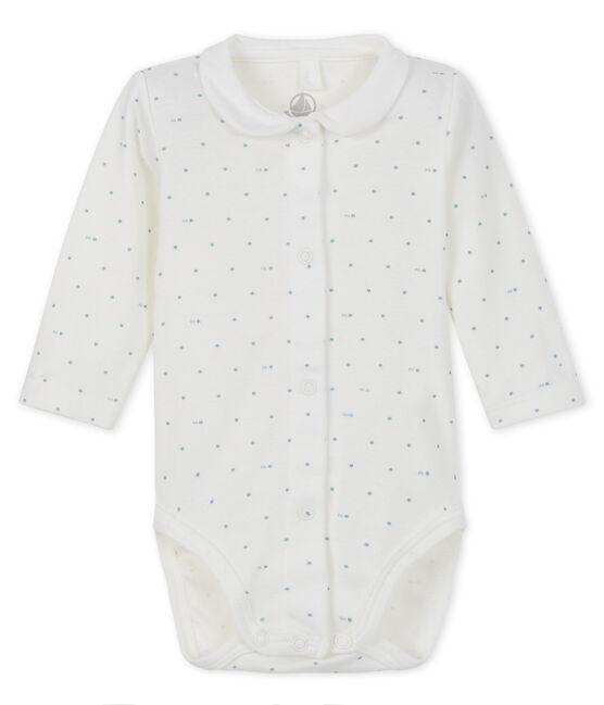 Langärmeliger Baby-Body weiss Marshmallow / grau Gris