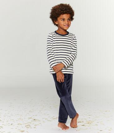 Samt-Pyjama für kleine Jungen blau Smoking / beige Coquille