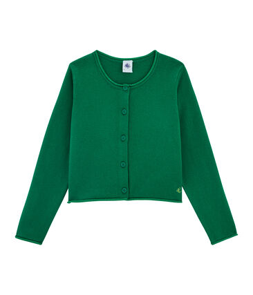 Strick-Cardigan für Mädchen grün Ecology